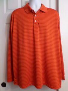 Cypress-Club-Performance-Men-039-s-Henley-Polo-Shirt-size-XXL-long-sleeve-orange