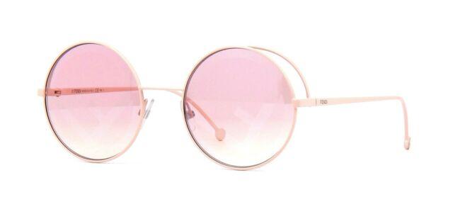 49db62931 Fendi Fendirama FF 0343 35j 01 Pink Metal Round Sunglasses Pink Fendi Logo  Lens