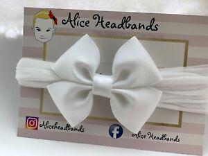 Baby-Girl-Headbands-Soft-Stocking-Band-Bow-Wedding-White-Bow-Christening-Lot