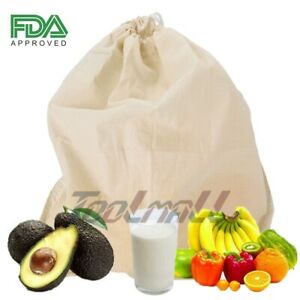 Organic-Nut-Milk-Bag-Cotton-Hemp-Reusable-Large-Size-12-11-8-039-039-With-DRAWSTRINGS