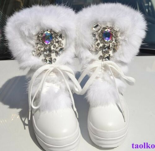 Lady Elegant Rhinestone Handmade Ankle Boot Lace Up Platform thicken Sole Shoes