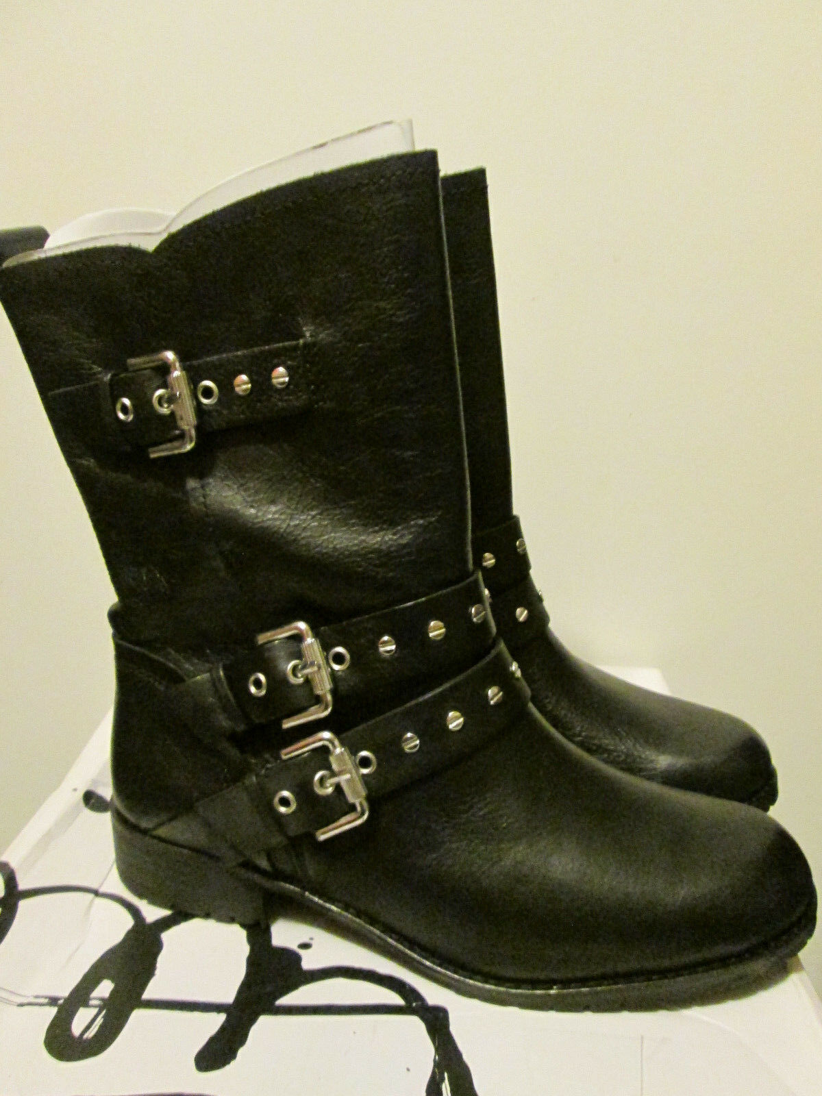 DV By Dolce Vita Solvae Womens Black Leather Mid-Calf Biker Look Boots 8.5 NEW