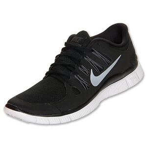 88778bfe6f43 Nike Free 5.0 Womens Size Running Shoes Black White Silver Sneakers ...