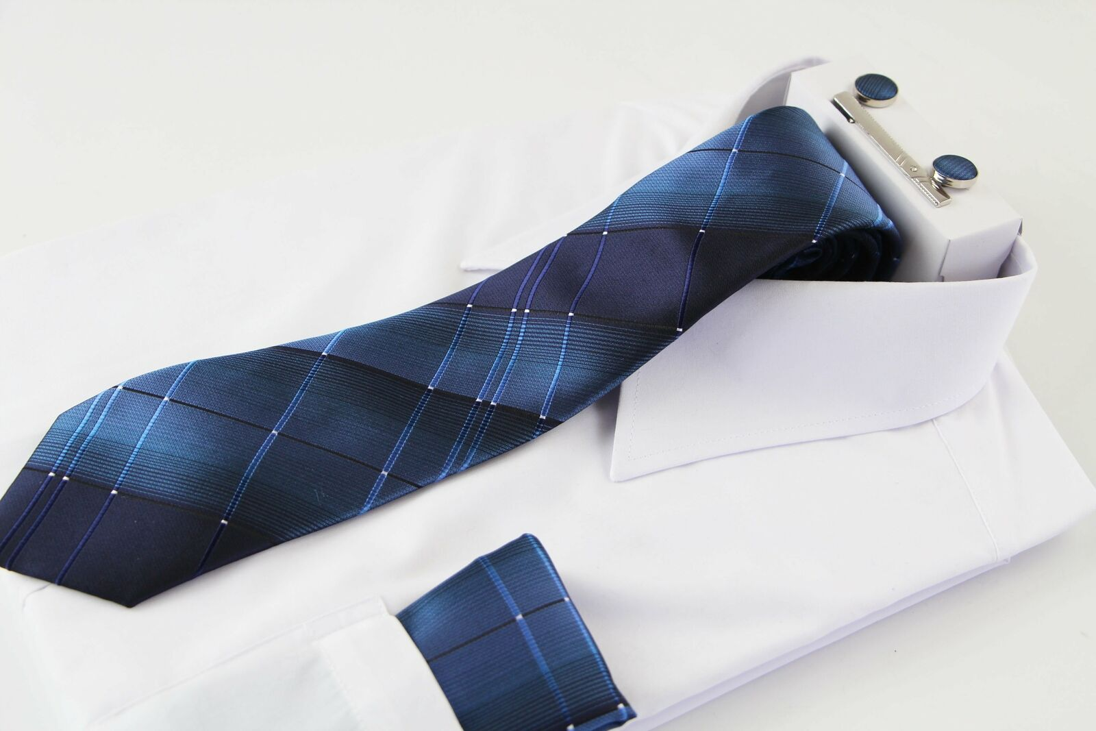 Mens Ocean Blue Checkered Matching Neck Tie, Pocket Square, Cuff Links And Tie