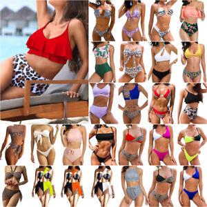 Damen Sommer Bikini Set Schwimm Push Up Gepolstert Strand Bademode Badeanzug NEU