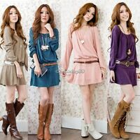 Korean Women Long Sleeve Cotton Stretch Slim Fit Skater Mini Dress With Belt