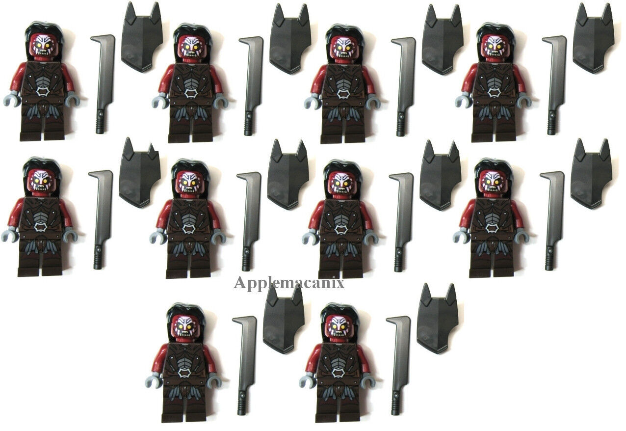 10 nuovo LEGO 9471 Lord of the Rings  URUK-HAI ARMY Minifig cifra Lot Sword Shield  tempo libero