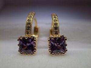 18k-Yellow-gold-Solid-Created-diamond-Princess-Amethyst-Hoop-Huggie-Earrings