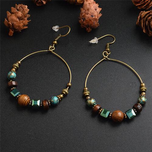 Bohemia Drop Dangles Earrings Ethnic Bigs Circle Crystal Beads Ear Stud Jewlery