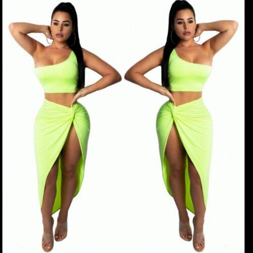 Womens Neon Green 2 PCs Set Party Dress Crop Top Maxi Skirt Co Ord Vegas Holiday