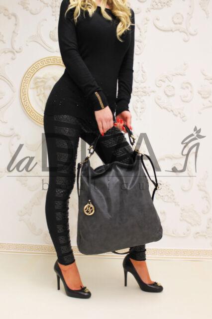 Shopper Tasche mit Anhänger schwarz Leder Optik Beuteltasche %SALE% OVP 44,90 €
