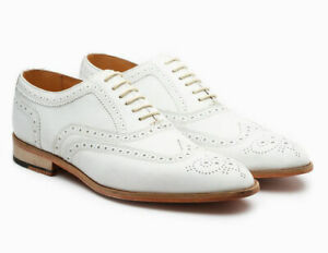 Handmade-Men-039-s-White-Leather-Wing-Tip-Brogues-Style-Dress-Formal-Oxford-Shoes