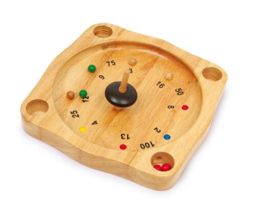 Bauernroulette Natur Holz 21 x 21 x 3 cm Holzspiel Roulette Spiel für Kinder Neu