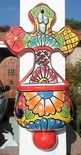 """Talavera Pottery 10 X 5"""" hanging Holy Water vessel CROSS Mexico hand painted"""