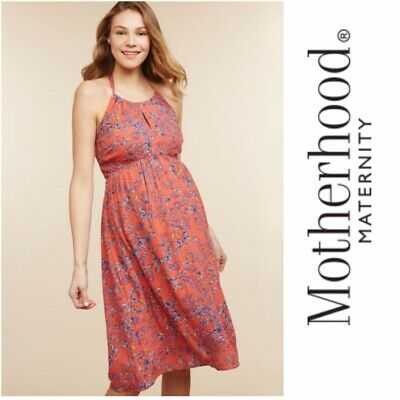 Jessica Simpson Maternity Dress Size Medium Halter Floral Gauze A Line Ebay