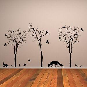 6803dc459e2 Wall Decal Sticker Decor Mural Forest Nature Tree Birds Vinyl Home ...