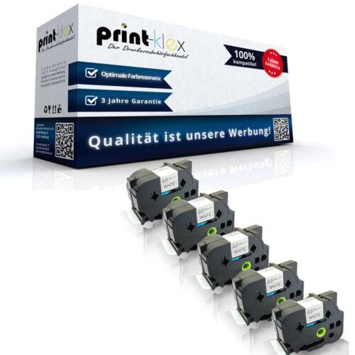 5x Premium kompatible Schriftbänder für Brother TZE261 Schwarz auf Weiß Easy Pri