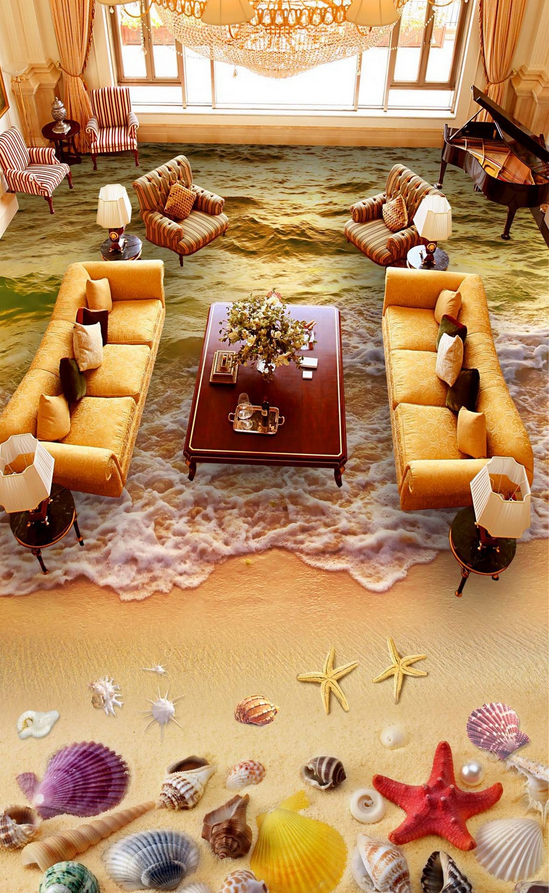 3D Pretty Beach 4533 Floor WallPaper Murals Wallpaper Mural Print AJ AU Lemon