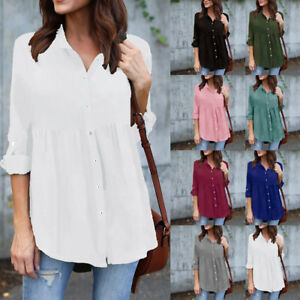Womens-Plus-Size-Solid-Long-Sleeve-Casual-Chiffon-Ladies-OL-Work-Top-T-Shirt