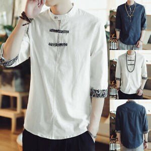 Men-039-s-Chinese-Retro-Floral-T-shirt-Stand-Collar-Casual-Holiday-Beach-Blouse-Tops