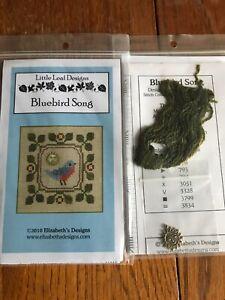 Bluebird Song Cross Stitch Little Leaf Elizabeth's Designs Charm Floss OOP