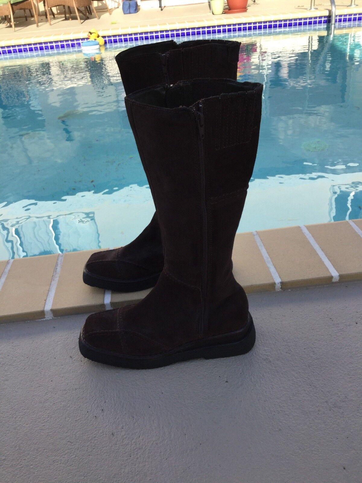 FRYE Dark Brown Suede 'Avenger Zip 14 ' Square Toe Side Double Zip Boots Sz 8M