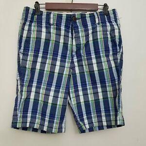 Abercrombie-Fitch-Mens-Button-Fly-Madras-Shorts-31-Blue-Plaid-Flat-Front-Cotton