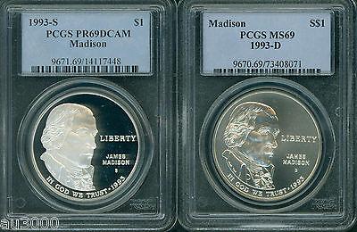 1993-D JAMES MADISON SILVER COMMEMORATIVE S$1 PCGS MS69
