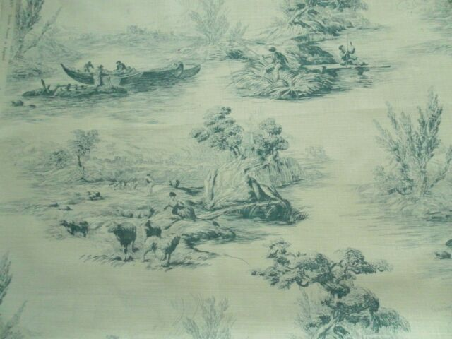 Zoffany Curtain Fabric THE BOATMEN 1.85m Teal - Traditional Toile Design - Linen