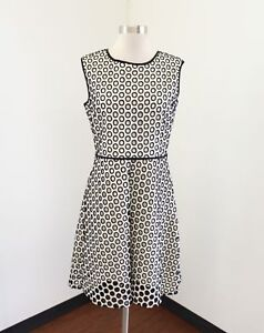 eb224797274 J Crew Punched Out Eyelet Dress Size 4 Black Off White Polka Dot Fit ...