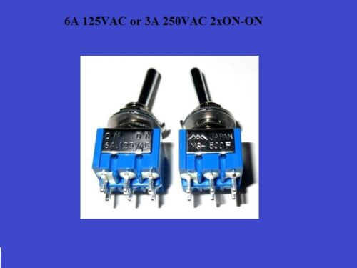 3A 250VAC 6A125VAC 2xON-ON 2x Japan Kipp Hebel Schalter Switch 2pol
