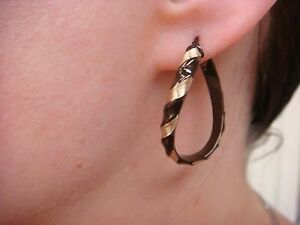 ! BEAUTIFUL 14K GOLD YELLOW AND CHOCOLATE TWISTED HOOP EARRINGS MADE IN ITALY.