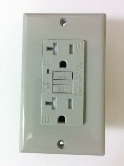 1 Pc) 20a Tamper Resistant TR GFCI Outlet Receptacle Gray 20 Amp ...