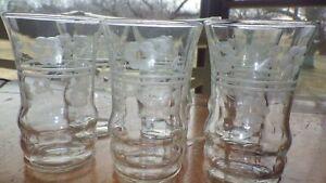 Etched Juice glases elegant flat bottom 6 6 oz juice glasses