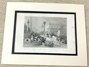 1860 Antique Engraving Print Doges Place Venice Italy St Marks Square Old Art