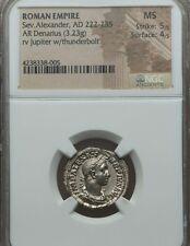 Roman Empire Sev. Alexander AR Denarius NGC MS 5/4 Ancient Silver Coin