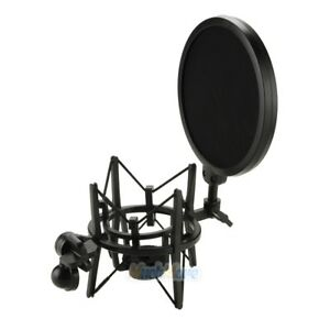 Double-Layer-Studio-Microphone-Mic-Wind-Screen-Mask-Big-Integrated-Pop-Filter-US