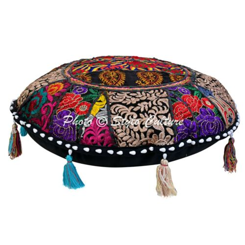 Indian Embroidered Cotton Floor Cushion Cover Patchwork Pillow Case Cover Throw