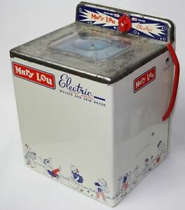 Rare Mary Lou Electric Vintage Metal Toy Washing Machine