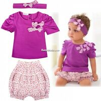 3pcs Kid Toddler Baby Girl Infant Top+Pant+Headband Outfit Costume Cloth 0-36M