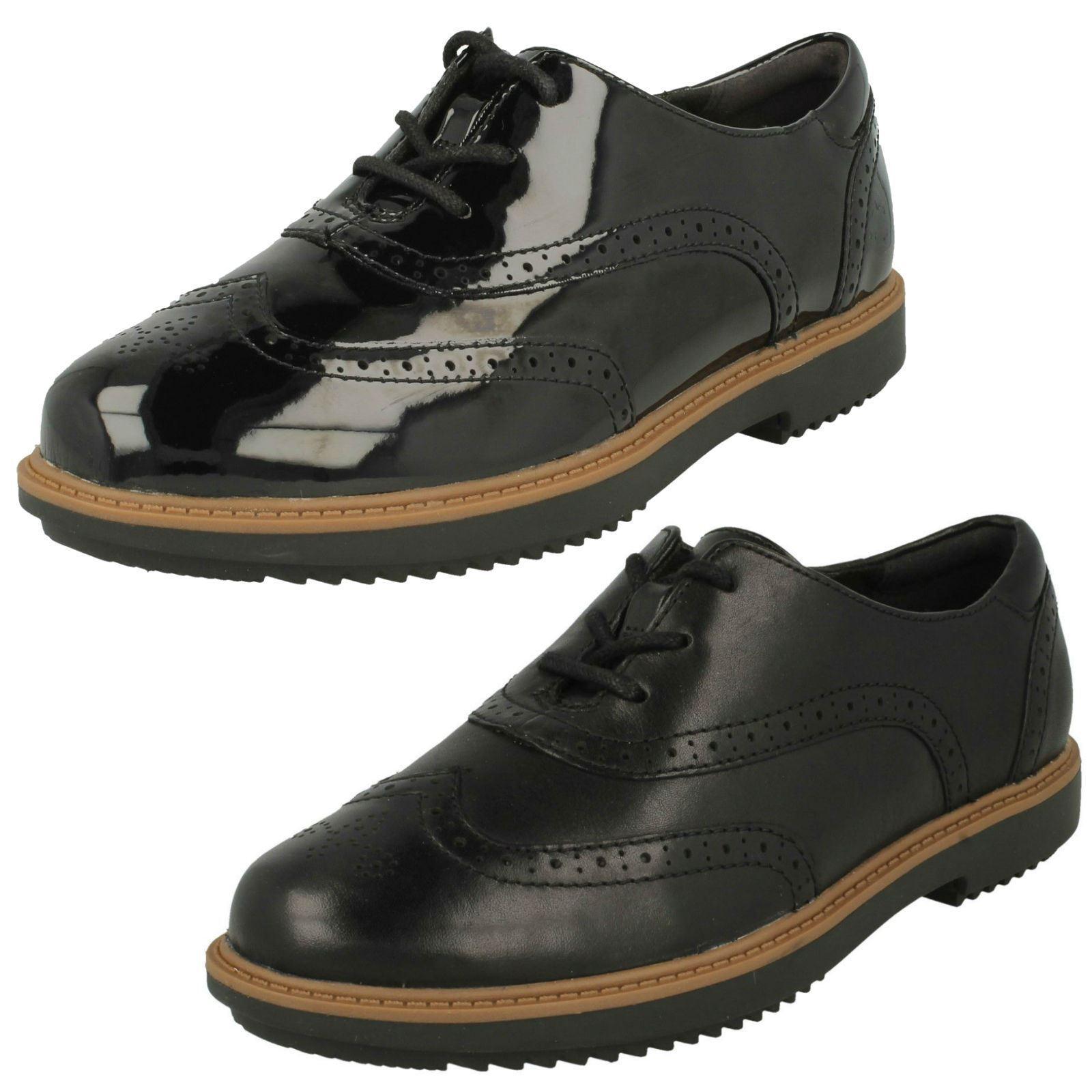 Zapatos de mujer baratos zapatos de mujer Descuento por tiempo limitado Ladies Clarks Raisie Hilde Leather Or Synthetic Patent Lace Up Brogue Shoes