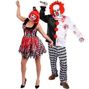 Adults Couples Evil Killer Clown Costume Halloween Scary Slasher