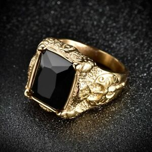 Mens Gold Stainless Steel Black Baguette Onyx Gemstone Biker Ring