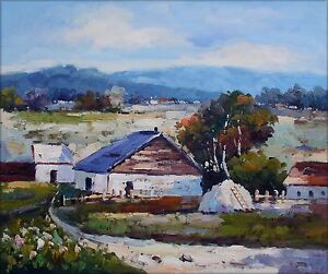 Quality-Hand-Painted-Oil-Painting-Countryside-Cottages-20x24in