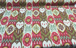 Kachina-Tribal-Red-Green-brown-IKAT-Richloom-Printed-Linen-Blend-By-The-Yard