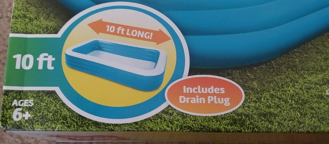 Play Day Inflatable 10 Foot Rectangular Family Pool 120