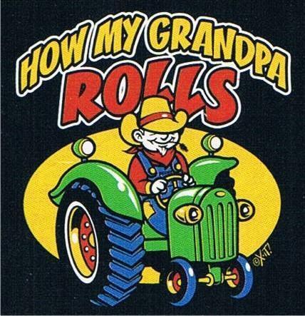 HOW MY GRANDPA ROLLS Farmer Tractor Kids T-Shirt Asst Colors 2-4=XS To 14-16=LG