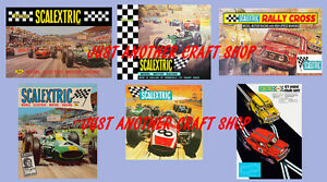 Scalextric-set-of-6-vintage-posters-adverts-including-Mini-Cooper-amp-Jim-Clark