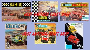 Scalextric-Set-De-6-Vintage-Posters-anuncios-incluyendo-Mini-Cooper-amp-Jim-Clark