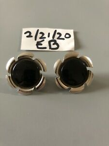 Vintage Sarah Coventry Signed Black Clip On Earrings